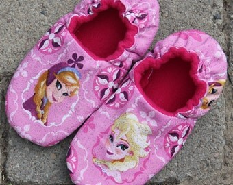 Sisters Forever Slippers with Elsa and Anna Frozen Glitter Fabric