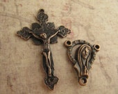 Beautiful Antique Copper Vintage Style Crucifix and Matching Antique Copper Rosary Center