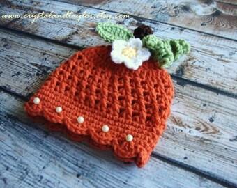 Baby Girl Hat, Fall Hat with Leaves, Newborn Hat, Crochet Baby Hat, Orange Pumpkin Hat, Photo Prop, Baby Hat
