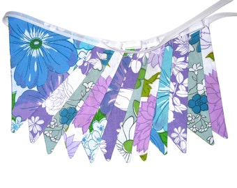 RETRO Vintage Bunting - FLOWER POWER Purple / Blue / Green Flags.  Handmade . Party, Decoration. Made in Australia . Garden Party Decor