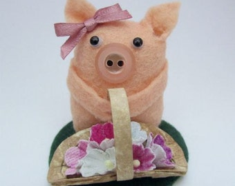 Felicity the Flower Pig - Pig Gift - Felt Pig