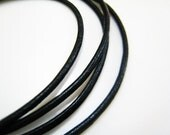 Leather Cord 2mm - 1 Yard  of 2mm Black Genuine Round Leather Cord