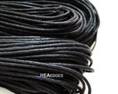 Cotton Wax Cord 2 Yards 1.5mm - Black Round Round Cotton Wax Cords