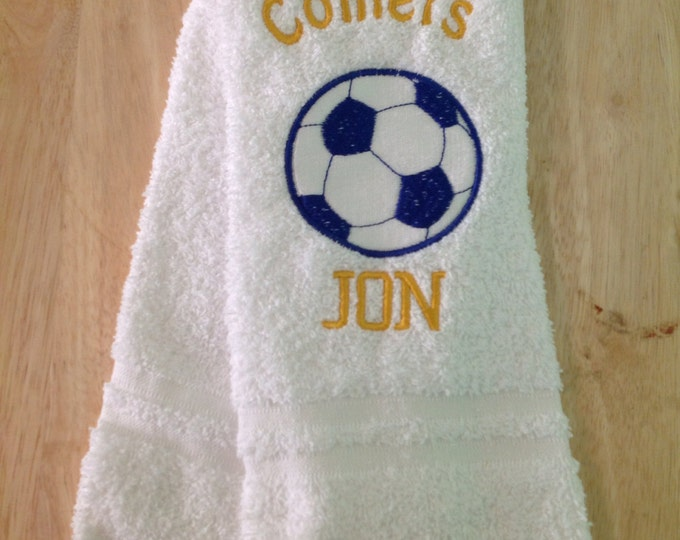 Soccer, Personalized soccer towel, soccer team towels, soccer gift, Embroidered towels,