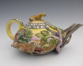 Teapot - Functional, Thrown, Handbuilt, Painted Earthenware with Cheetahs in an African Setting