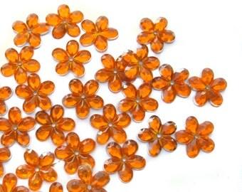 50 pcs Orange Flower Sew on Flatback Rhinestones with 1 hole Acrylic