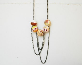 Yellow Beaded Necklace Hand Painted  Boho Necklace Wooden Necklace  Made to Order