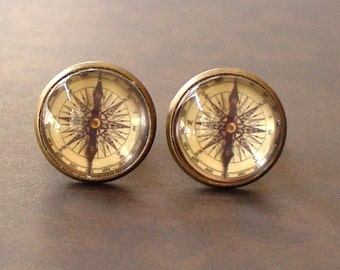 20% OFF -- 16 mm Vintage Style Compass Cuff Links ,Mens Accessories, Anchor Cufflinks,Perfect Gift Idea (#2)