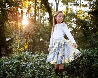 Victoria's Tween Ruffled Swirly Skirt PDF Pattern sizes 7/8 to 15/16