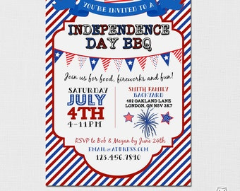 Independence Day Invitation, 4th of July Invitation, Fourth of July, BBQ Invitation,Independence Day Party, 4th of July Fireworks, Printable