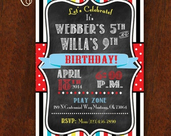 Combined Birthday Party Invitation Jump House Party Bounce House Invitation Customizable 5x7 Printable Boy Girl Combined Party