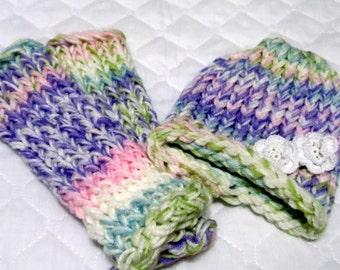 Loom Knitted Baby Hat Leg Warmers Spun Sugar Stripe Premee Set