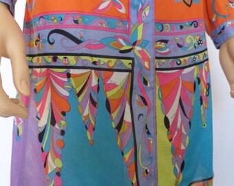 Vintage 1960's EMILIO PUCCI PsYcHeDeLiC oP aRt OpTiC Fish Flower Dress Collectible Designer Couture S M