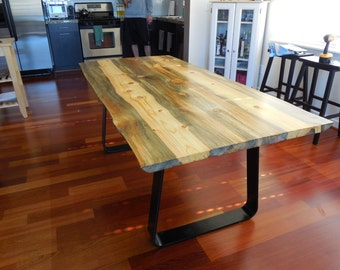 Montana Pine Dining Table with strap steel legs