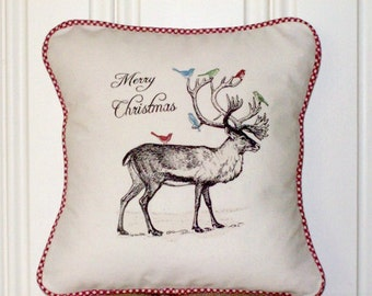 """shabby chic, feed sack, french country, vintage Christmas reindeer graphic with gingham welting 14"""" x 14"""" pillow sham."""
