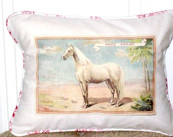 "shabby chic, feed sack, french country, vintage arabian horse graphic with toile welting 12"" x 16"" pillow sham."