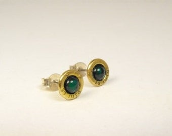 Bullet earrings 25 Automatic with green paua shell and brass post earrings