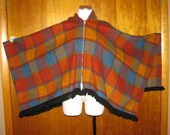 Vintage 70s Fox Knapp Fringed Plaid Poncho Cape with Cute Hood Beautiful Colors OSFM