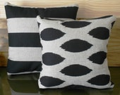 Black and natural ikat dots decorative pillow cover