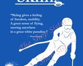Skiing skier Boy royal blue Print Wall art 8 x 10 FREE SHIPPING Olympics Inspirational