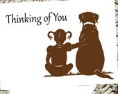 Sympathy Card thinking of you Greeting get well missing you black brown dog silhouette
