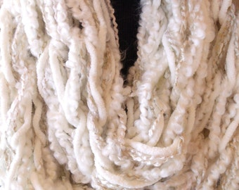IVORY INFINITY SCARF chunky knit arm knitting Off White Gold Antique White Circle Scarf Accessory