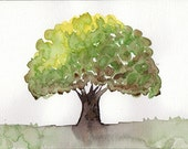 Original watercolor Tree art painting Spring decor Green Brown - bluepalette
