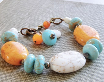 Chunky Beaded Bracelet White Turquoise Coral Orange Aqua Blue Magnesite Stone Pyrite Gemstone Brass Bronze Rustic Wedding Handmade Jewelry