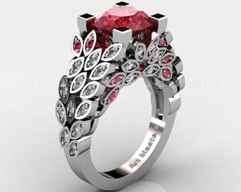 Art Masters Nature Inspired 14K White Gold 3.0 Ct Rubies Diamond Engagement Ring Wedding Ring R299-14KWGDR