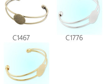 10PCS Bracelet With 20 MM Round Setting,Cuff,Adjustable, Fit 20mm round cabochons