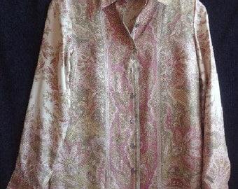 Vintage 80s  Due Per Due  Petite Collection  Silk Blouse  Shirt   floral   size 2P