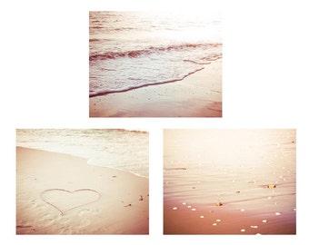 beach photography ocean nautical decor coastal prints 5x7 8x10 fine art photography hearts vintage inspired waves art beige cream gold rose