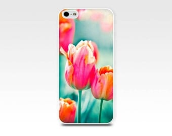 floral iphone case 5s tulips iphone 6 case iphone 4s case iphone 4 case 5 nature iphone case red tulips aqua teal floral iphone 6 case 5s