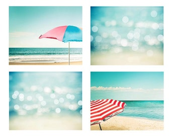 nautical nursery art beach umbrellas print beach print abstract art beach photography ocean bokeh photography coastal aqua teal blue pastel