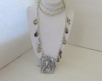 Religious Necklace, Christian, Hand Made Christian Necklace, Religious Icons, Madonna and Child