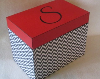 Recipe Box - Black Chevron and Red Wooden Recipe Box - Kitchenware - 4 X 6 or 5 X 7 Wood Recipe Box - Keepsake Box - Personalized - Gift
