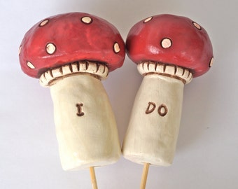 Red Mushrooms wedding cake topper