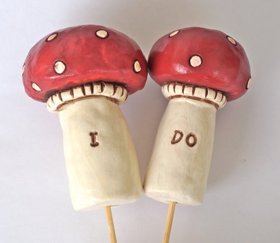 Red Mushrooms wedding cake topper