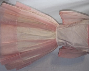 Delectable 1950s Pink Chiffon Party Dress