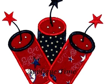 Instant Download Fireworks Trio Machine Embroidery Applique Design 4x4, 5x7 and 6x10