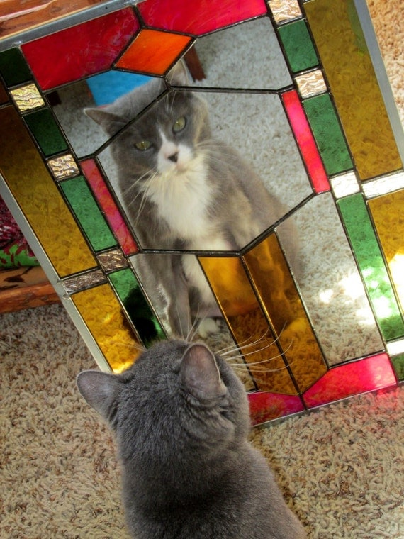Colorful Stained Glass Decorative Mirror Rectangle Shape