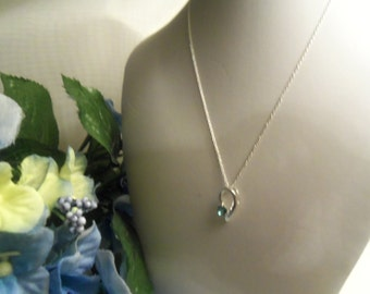 Sale- Lovely Unique Women's Sterling Silver 925 & Blue Topaz Pendant w/ Sterling Silver Italian 925 Chain- Birthday Gift Her Teen Mom Mother