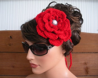 Womens Headband Crochet Headband Hippie Summer Fashion Accessories Women Boho Headband Flower Headband in Red - Choose color
