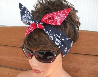 Fabric Headband Dolly Bow Headband Retro Fashion Accessories Women Headband Headscarf Bandana in Red and Navy Blue Bandana