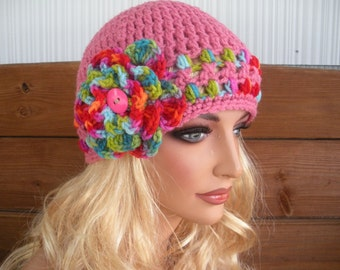 Women's Hat Crochet Hat Winter Fashion Accessories Women Hat Cloche Winter Hat in Pink with Multicolor stripes and flower