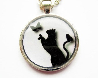 Black Cat Necklace, Resin Necklace, Cat and Butterfly Picture Pendant, Cat Jewelry, Resin Jewelry, Gift for Her, Mothers Day Gift