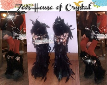 Christmas - WINTER Bling and Stylish Black Feather SheepSkin Wool BOOTS w shinning Czech or Swarovski Crystals