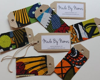 10 African Wax Print Kraft Swing tags / Gift Tags / Name Tags / Table Place names