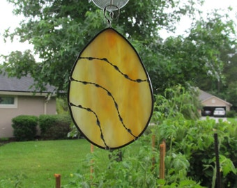 Yellow and Orange Swirl Egg with Decorative Soldering - Original Designed Handcrafted Authentic Stained Glass