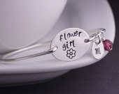 Flower Girl Gift, Personalized Wedding Gift, Silver Flower Girl Bracelet, Custom Bridal Party Gift
